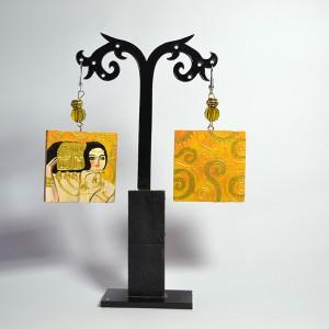 Orecchini dipinti a mano in legno dipinto a mano - L'attesa - Klimt