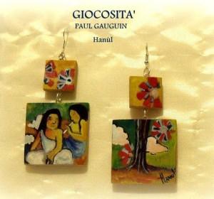 Orecchini dpinti a mano - Giocosità - Gauguin