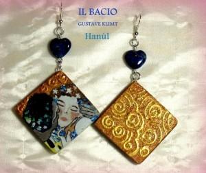 Orecchini dpinti a mano - Il Bacio - Klimt