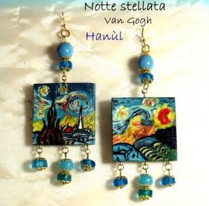 Orecchini dpinti a mano -Notte stellata - Van Gogh 2