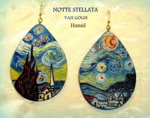 Orecchini dpinti a mano -Notte stellata - Van Gogh