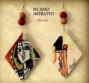or07 Orecchini dpinti a mano - Picasso - Ritratto 2