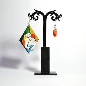 Orecchini in legno dipinti a mano Il sogno Picasso