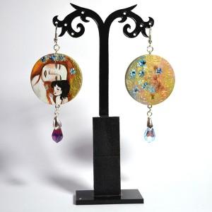 Orecchini in legno dipinti a mano - La Maternità - Klimt