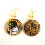 Orecchini in legno dipinto a mano Il Bacio Klimt