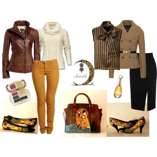 Outfits borsa dipinta e scarpe dipinte Il Bacio di Klimt