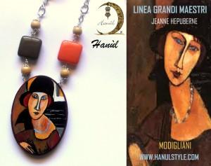 """Pe48 Pendente in legno dipinto a mano """" JEANNE HèBUTERNE"""" Modigliani"""