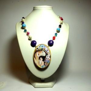 Pendente dipinto a mano Maternità Klimt