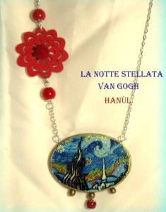 pen06 Pendente dipinto a mano - Notte stellata- Van Gogh