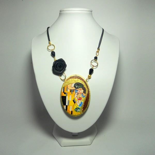 Pendente in legno dipinto a mano Il Bacio Klimt