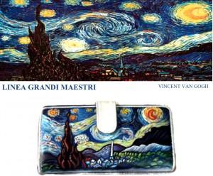 Po11 Portafoglio dipinto a mano - Notte stellata - Van Gogh