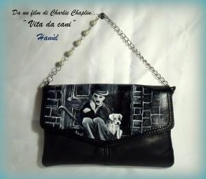 Pochette borsa in pelle dipinta a mano Charly Chaplin