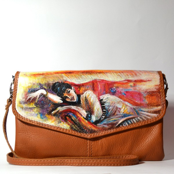 Pochette in PELLE dipinta - La Dame - Boldini