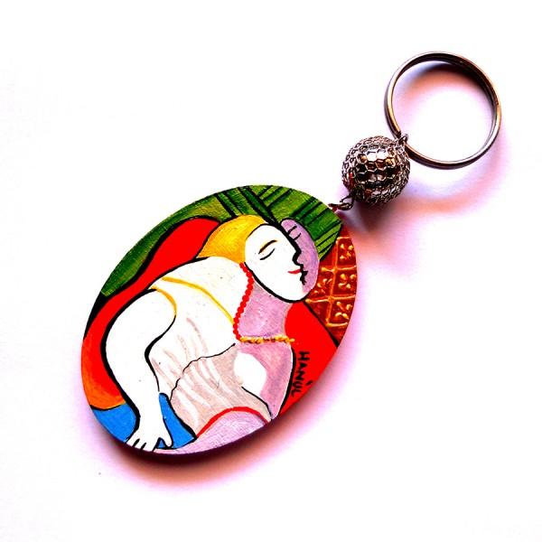Portachiavi in legno dipinto a mano Il Sogno Pablo Picasso ovale