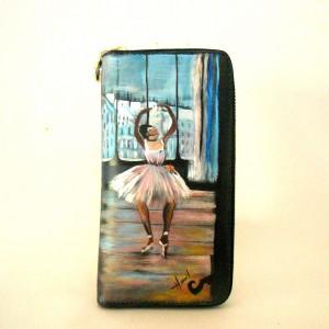 Portafogli in pelle dipinto a mano BALLERINA IN POSA di Degas.