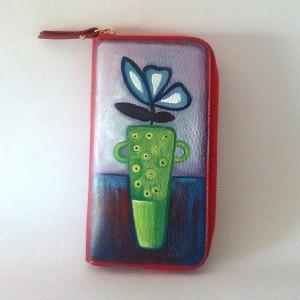 Portafogli in pelle dipinto a mano Coktail di fiori