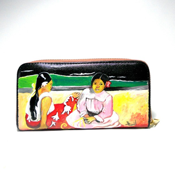 Portafogli in pelle dipinto a mano Donne Tahitiane Gauguin