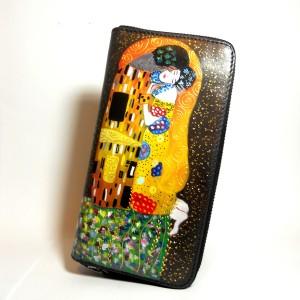 Portafogli in pelle dipinto a mano Il Bacio Di Gustav Klimt