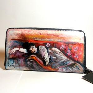 Portafogli in pelle dipinto a mano La Dame di Giovanni Boldini