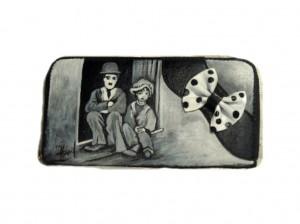 po18 Portafoglio dipinto a mano - Charly Chaplin Il monello