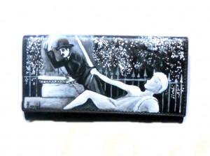 po17 Portafoglio dipinto a mano - Charly Chaplin Luci della Notte