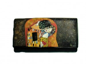 po13 Portafoglio dipinto a mano - Il bacio 2- Klimt