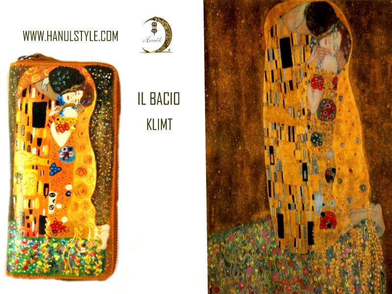 Portafoglio dipinto a mano - Il bacio - Klimt