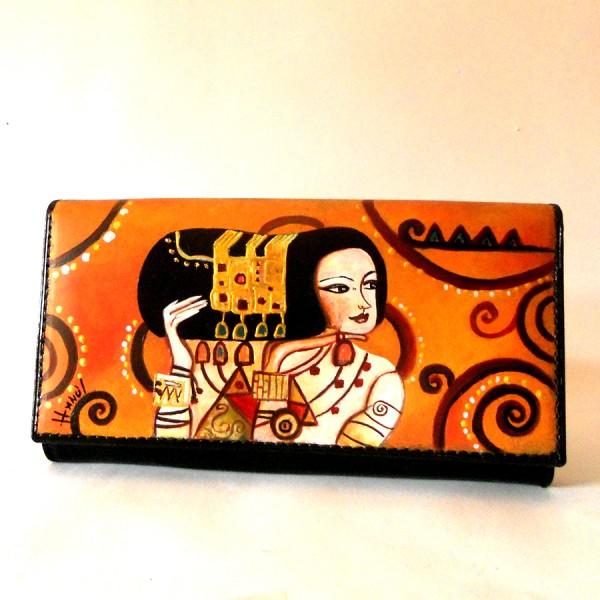 Portafoglio dipinto a mano Klimt L attesa