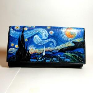 Portafoglio dipinto a mano La notte stellata Van gogh