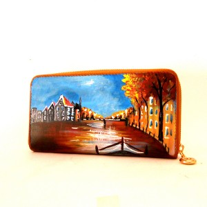 Portafoglio dipinto a mano Linea Cartoline Tramondo in Olanda cognac