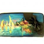 Po03 Portafoglio dipinto a mano - Regata ad argentui - Monet