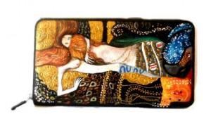 po02 Portafoglio dipinto a mano - Serpenti d'acqua - Klimt