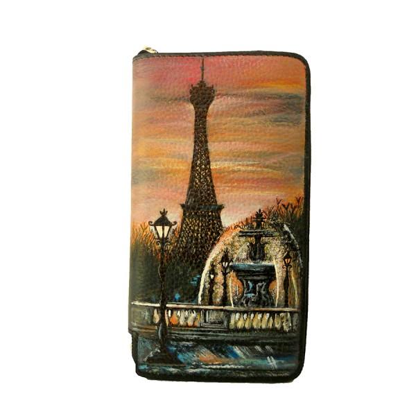 Portafoglio dipinto a mano Torre Eiffel