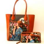 Portafoglio dipinto e borsa dipinta a mano MY SWEET ROSES - Waterhouse