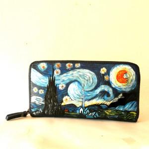 Portafoglio in pelle dipinto a mano NOTTE STELLATA - Van Gogh