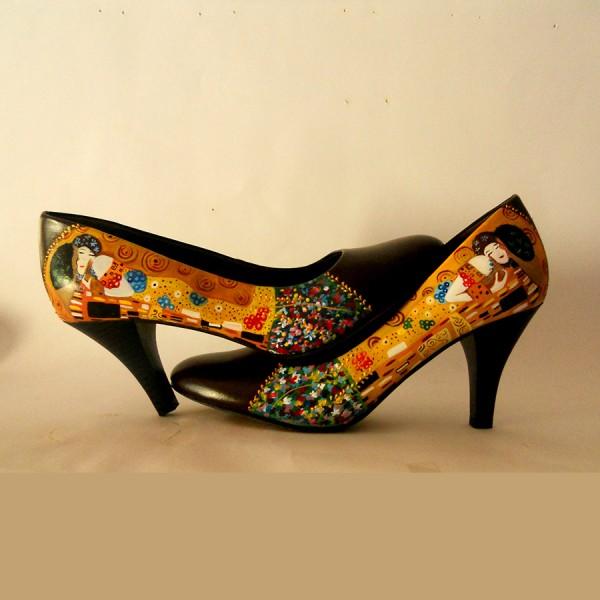 Scarpe dipinte a mano decolte Il Bacio - Klimt
