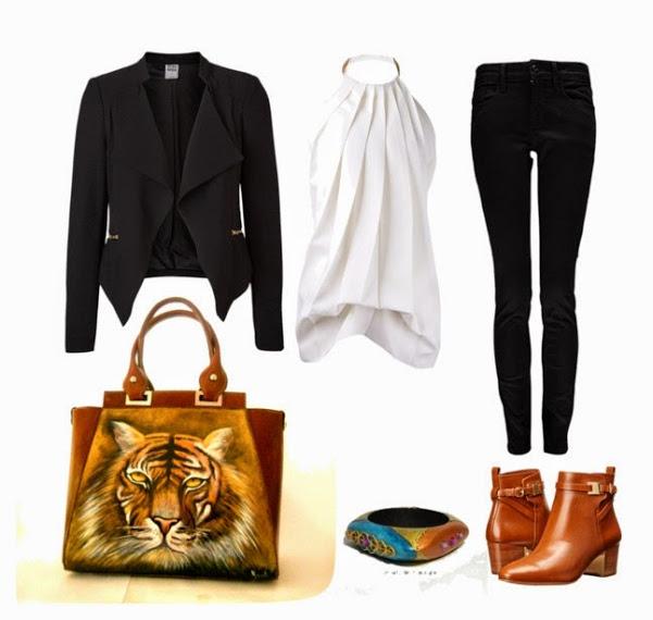 tigre borsa in pelle dipinta tiger Hanùl style outfits