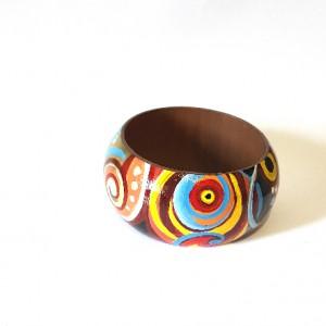 Bracciale in legno dipinto a mano, AEGYPTUS colorato e gioioso. Bangle 6,5 cm di diametro interno netto.