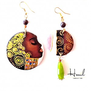 Orecchini tondi dipinti a mano, AFRICANA, con pietre dure