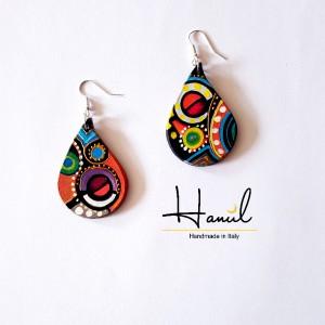 orecchini a goccia dipinti a mano