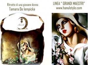 bo01 Borsa in pelle dipinta a mano - Ritratto di una giovane donna - Tamara De Lemppicka