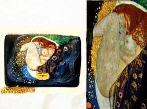 bo04 Borsa in pelle dipinta a mano -Danae - Klimt