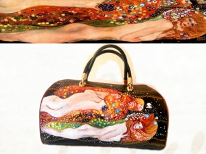 bo08 borsa dipinta a mano - Serpenti d'acqua - Klimt 2