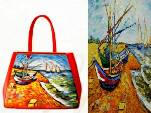 bo11 Borsa in pelle dipinta a mano - Boats at Saint Maries - Van Gogh