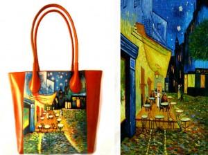 bo13 Borsa in pelle dipinta a mano - Caffè in terrazza - Van Gogh