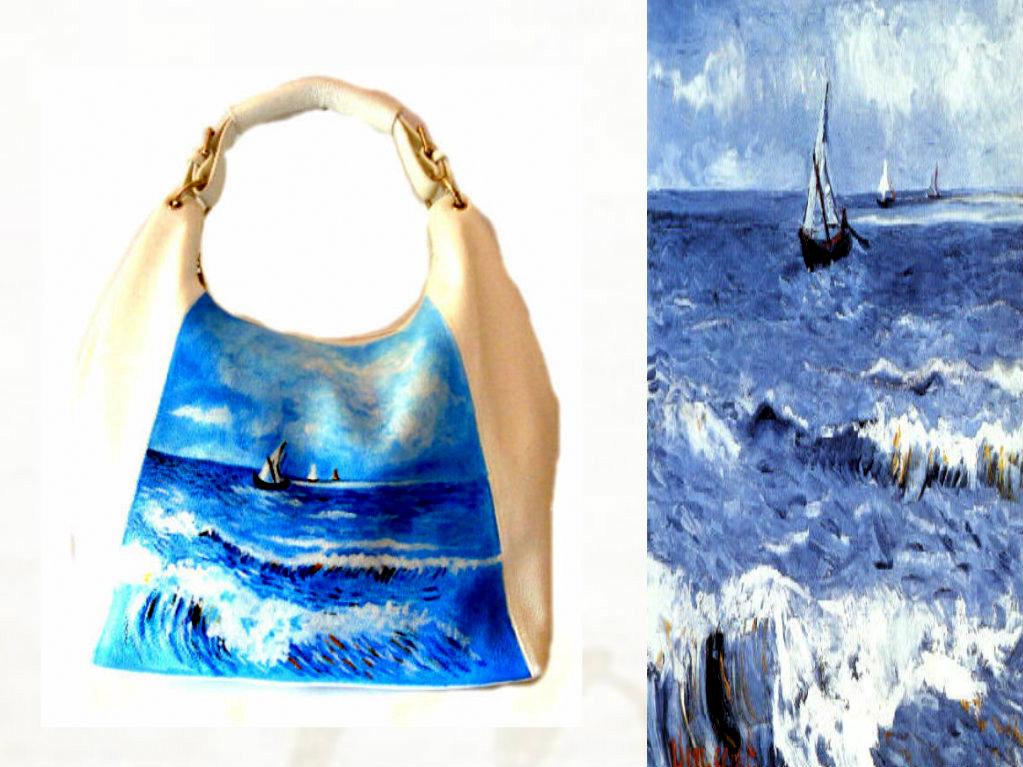 bo24 Borsa in pelle dipinta a mano - Paesaggio marino a Saint Maries - Van Gogh