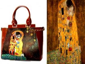 bo27 Borsa in pelle dipinta a mano - Il Bacio - Klimt