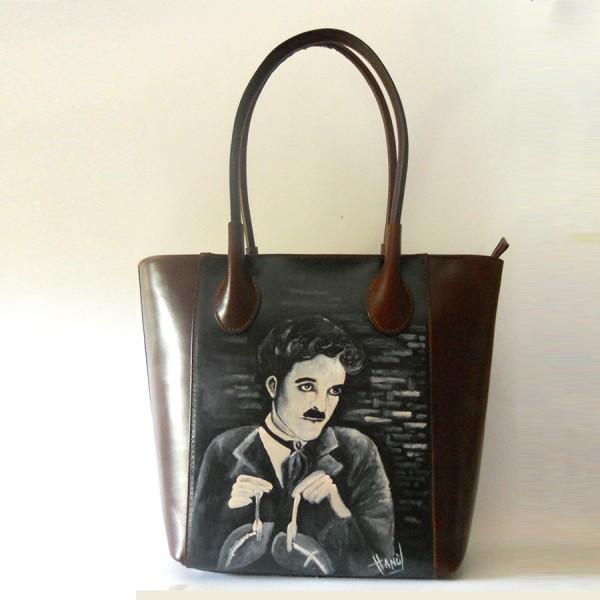 borsa dipinta a mano Charly Chaplin - La febbre dell'oro