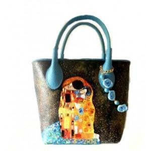 borsa dipinta a mano - Il bacio 2 - Klimt