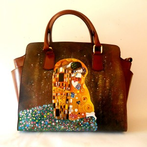 borsa dipinta a mano Klimt Il Bacio